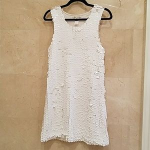 White Sequins Alice + Olivia Cocktail Dress